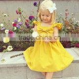 Girls big bow dress baby bow simple flutter sleeve dress holiday valentines day coming home outfit