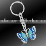 Wholesale enamel blue & crystal butterfly charm key ring/butterfly key chain with silver plated