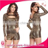 2016 gold sequins Fashion Women long Sleeve Office Lady Jumpsuit
