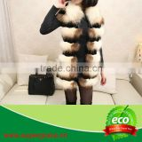 Women Beauty Outlook Natural Raccoon Dog Fur & Rabbit Pelt Leather Vest