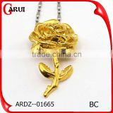 Fashion Jewellery Accessory Artificial Flowers Rose Gold Plated Mother'S Day Pendant