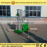 automatic single mast aluminium alloy hydraulic aerial work platform with lifting capacity 100kg