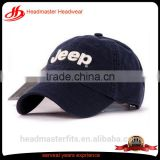 Custom embroidery baseballcap washed cotton 6 panel baseball hat gold metal grommet strap baseball hat