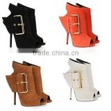 CATWALK-X1440234 Fashion Women Sexy Peep Toe Brand buckle Gladiator Ankle Boots Heel Out Shoes Boots