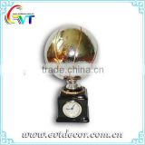 Gold Plated Basketball Trophy With Clock