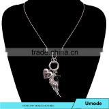 Ball Chain Mens Vintage Style Angel Wing Cross Heart Circle Charm Necklace