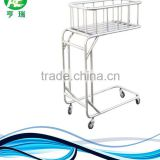Portable stainless steel hospital baby crib trolley / infant bassinet
