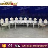 hotel luxury dining banquet table , golden metal frame white dining table