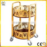 Luxury hotel wine dispense liquor trolley drinks liquor stainless steel trolley service cart wheels