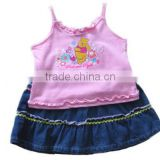 newborn halter top with ruffle girls soft denim skirt cotton baby clothing set for winter