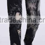 High quality men 's 100% cotton fashion printing black slim jeans factory price                                                                         Quality Choice