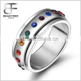 fashion stainless steel Rainbow rotating spinner ring for men and women gay