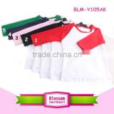 High quality Customized Plain cotton O-Neck Wholesale Long Sleeve Kids T Shirts Different Colors And Sizes