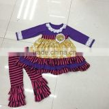 China supplier Fall top and pants Ruffle Outfit kids Children Clothing Set Baby girl Clothes