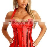 Halter Waist Training Corset With Silver Sequin Strips on Body and Bust and Underwired Cups                                                                         Quality Choice