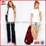 Ladies basic pure cotton white T-shirt women custom ultimate crew neck t-shirt manufacturer China