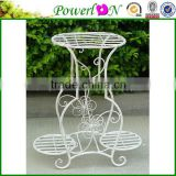 Antique White Wrought Iron Classical Vintage Hand Crafted Decorative 2 Tier Plant Stand For Home Patio TS05 G00 X00 PL08-5820