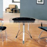 glass Small Round Office Meeting Table with Metal Legs in Office Furniture Simple Combination glass Meeting Table PT-M008