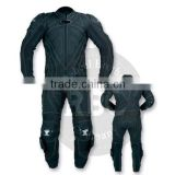 cow hide leather suit in black and green motorbike motorcycle leathers