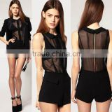 Fashion New Lady Cool Chiffon See Through Black Jumper Suit Short Pant Clubwear L1240
