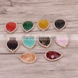 Mix Color Faceted Crystal Glass Connector Beads Drop shape with Pave Zircon Gem Charm For Making Jewelry