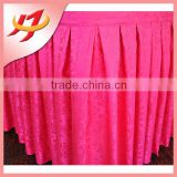 Hot sale popular polyester ruffled gathered banquet table skirt