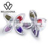 Factory Price Wholesale Fashion Brass 18K Gold Plated Colorful Marquise Cubic Zirconia white Gold stud earring
