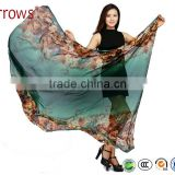 Big Long Rose Pattern Summer Scarf and Shawl for Women Imitated Silk Material More Vivid Royalblue Pink Flamingo Green