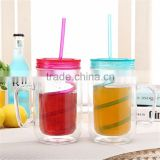 Best Selling Products Of Colorful Wide Mouth Disposable Plastic Mason Jar Drinking Cups with straw