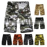 New Style European Fashion Summer 100% Cotton Baggy Camo Cargo Shorts for Men