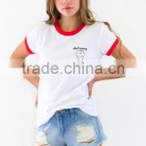 Don't Worry Be Happy Youth plain white 100 cotton printed Tee customized whoesale with cheapest price
