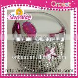 newest silver sequin tote sequin bag for kids