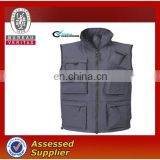 Navy blue men's Winter work vest with multi pockets