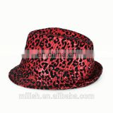 wholesale Adult fashion red led flashing leopard fedora hats with sequin for party MFJ-0010
