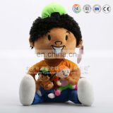 Plush doll holding two babies dolls for children plush toys