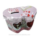 Coin packing tin Wedding heart shape tin with lock and key