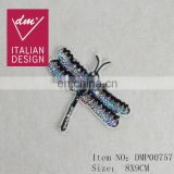 Sequin beaded dragonfly patch rhinestone applique