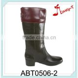 Color stitching upper woman low heel boots slush-molding high rain boots with back buckle