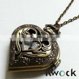 Symbol Vintage Retro Bronze Tone Steampunk Pocket Watch Necklace Pandant Clock