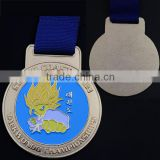 "2.17"" size, gold plated, with printed ribbon, soft enamel Taekwondo Championship medals"