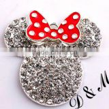 Wholesale large 48mm fashion silver alloy rhinestone minnie with red bow pendants for kids jewelry making
