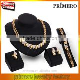 Crystal African 18k Gold Jewelry Sets Women Wedding Party Trendy Statement Necklace Earring 4Pcs Set