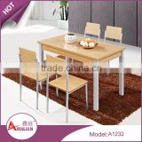 2016 new design dining room furniture 1.2 meter custom color wooden chairs and dining table for 4 people