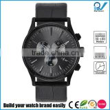 particularly blue Second hand quartz classic business casual water proof stainless steel case whith genuine leather strap watch