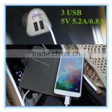 hot sale oem white and black colorful ring blue led 5v 5.2a 6.8a 3 port phone charger for lenovo
