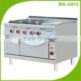 2016 Hot Sale Commercial kitchen equipment Gas range 4 burners with griddle and oven BN-G813