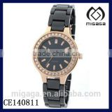 yellow gold crystal bezel black ceramic watch for ladies/LADIES BRAND NEW CLASSIC CERAMIC WATCH