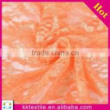 New arrival China supplier metallic thread embroidery in lace mesh fabrics