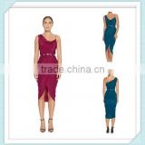 Lady's silk crepe de chin royal blue colour drape evening dress style