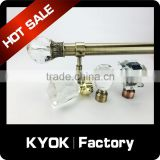 KYOK High quality cheap curtain rods leaf finial ,telescopic curtain pole with resin finials